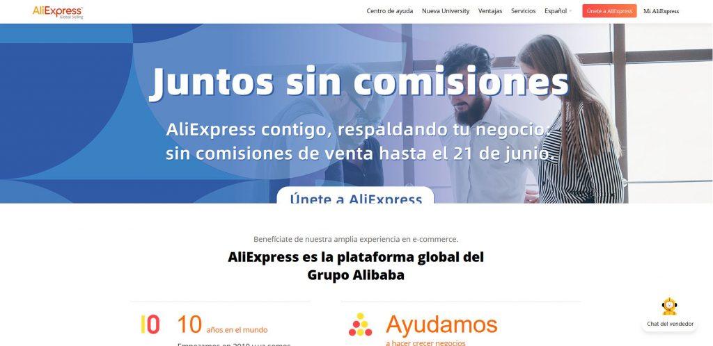 Página principal afiliados de AliExpress