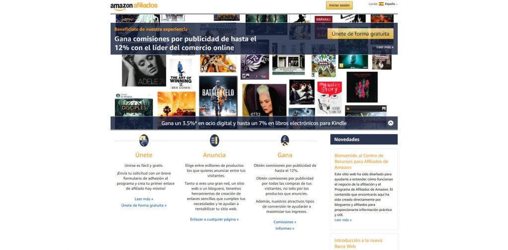 página principal afiliados de Amazon