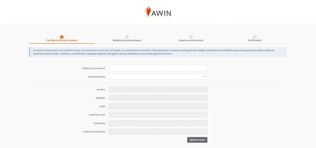 pantalla principal Awin