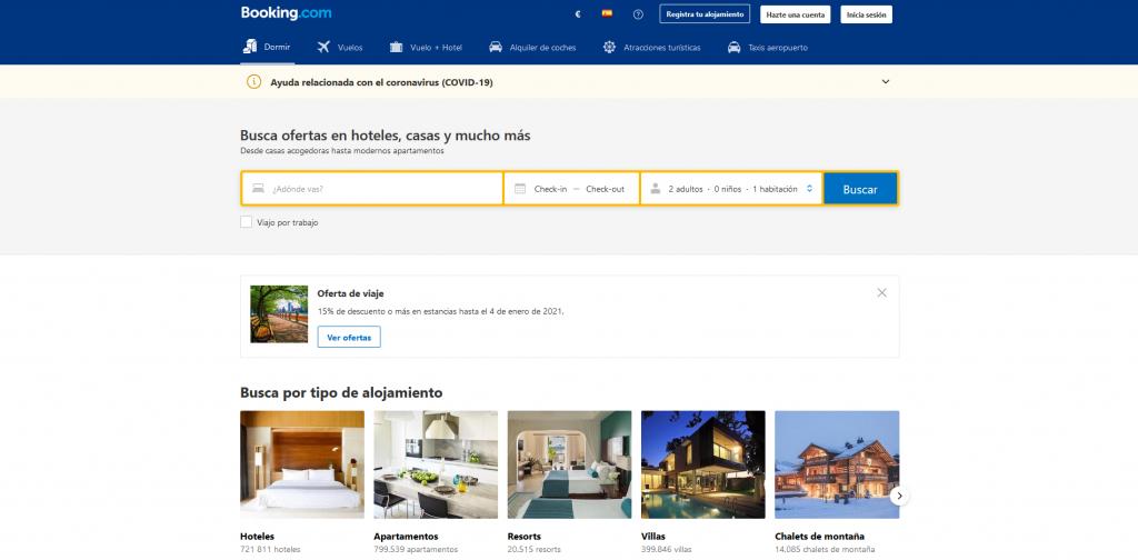 Pestaña de hoteles de Booking